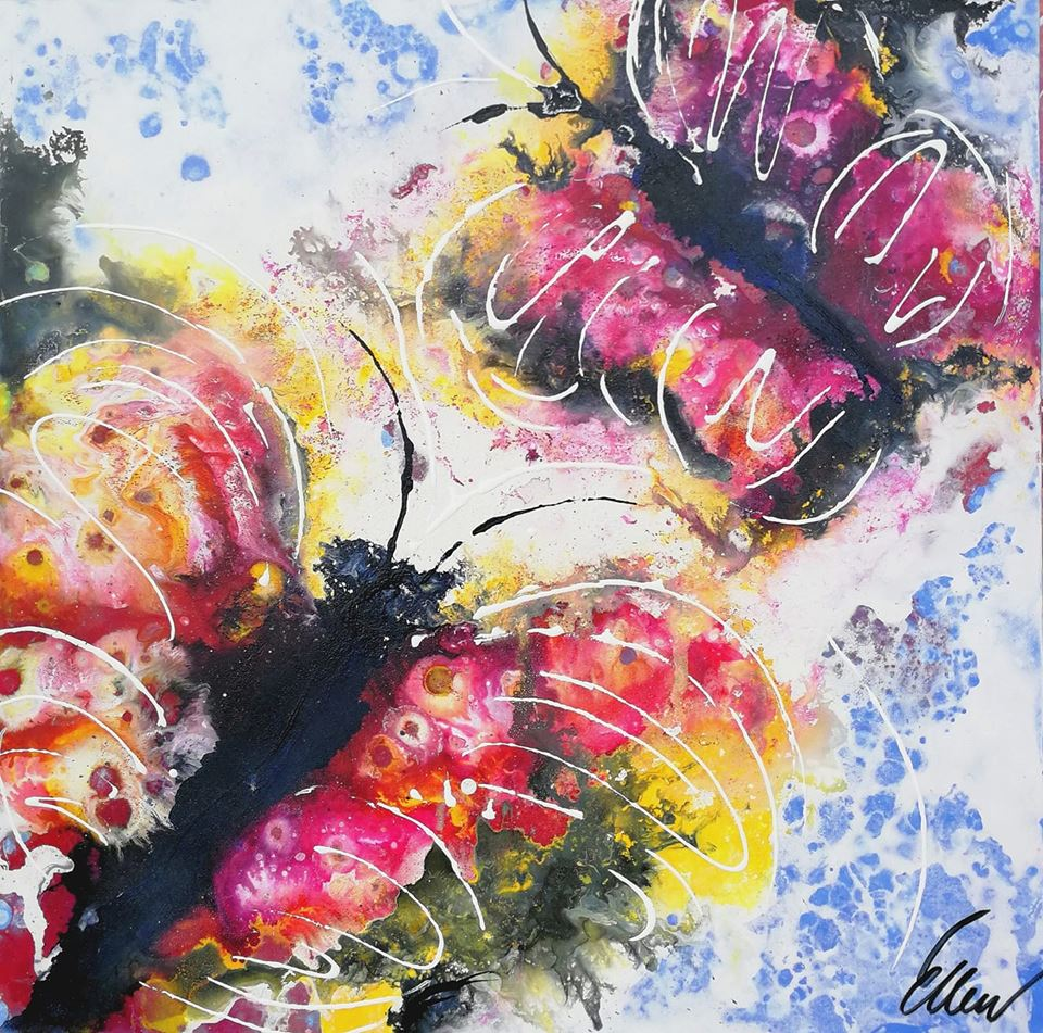 Schmetterlinge, handgemalt auf Acryl, Pink, Gelb, Schwarz, Blau